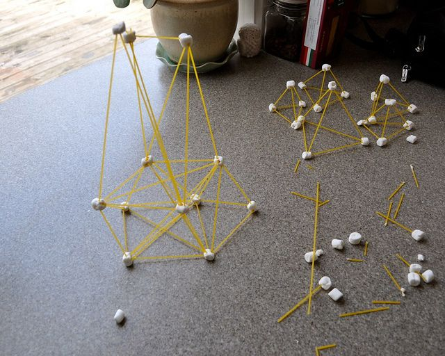 Marshmallow Straws.  Use spaghetti noodles and mini marshmallows and let the kids build.