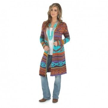 5ee8879bc2 Wrangler Aztec Sweater Duster. Cardigans