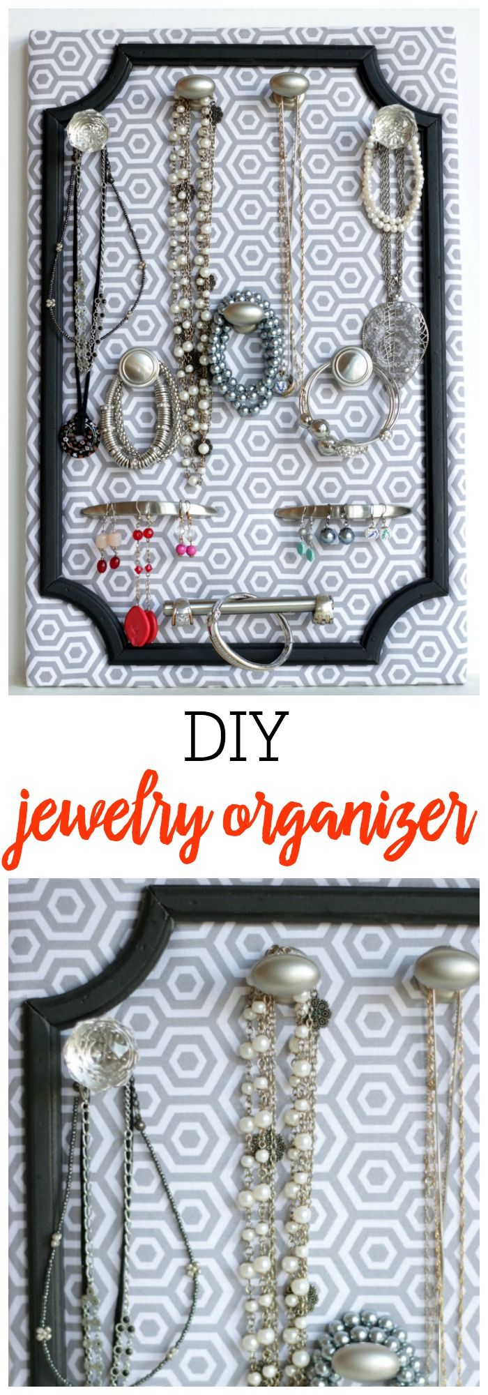 DIY Jewelry Organizer - a great idea for any home or as a gift, especially for a birthday gift or Mother's Day Gift!