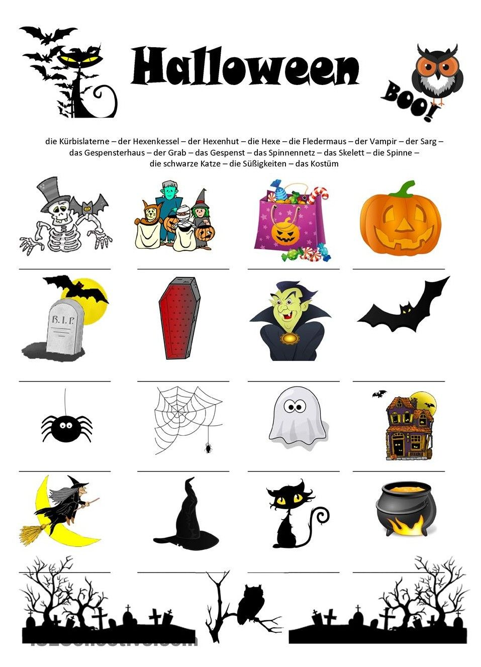Arbeitsblatt, Thema : Halloween & https://de.islcollective.com ...