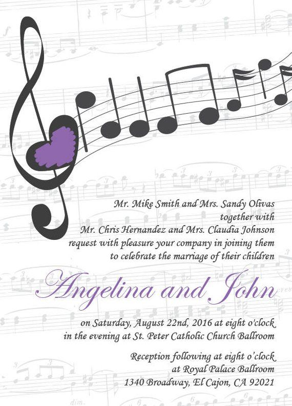 Music Wedding Invitation Printable Template/Vintage/E-card | Etsy