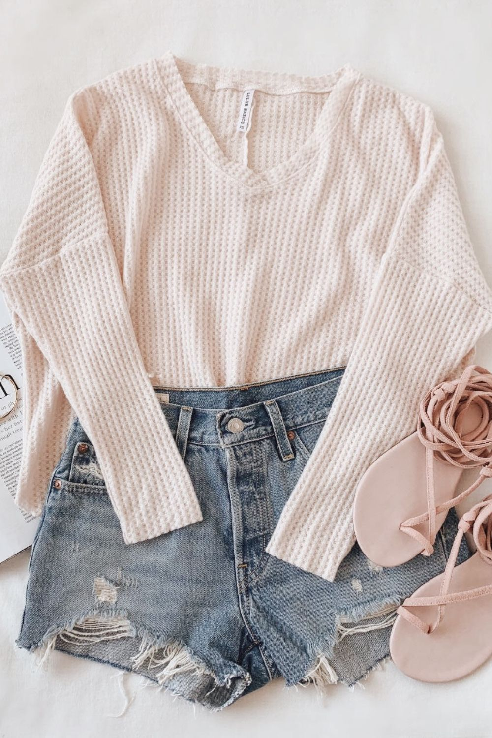 Lulus Basics Only For You Blush Knit Long Sleeve Top