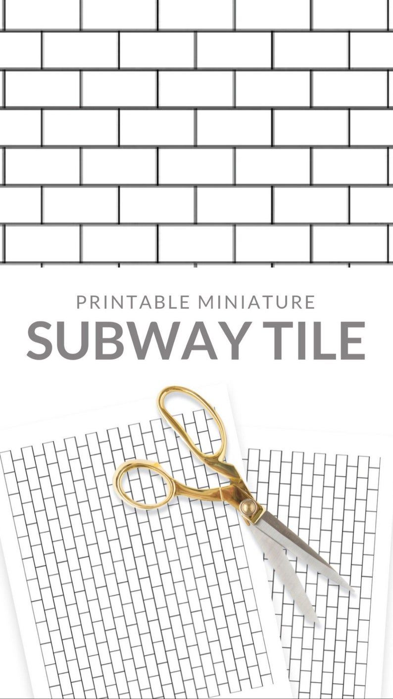 Dollhouse 1/12 White Subway Tile Miniature Diorama Roombox Farmhouse Floor Wall 1:12 Printable Digital Download 8.5 x 11 and 11 x 17
