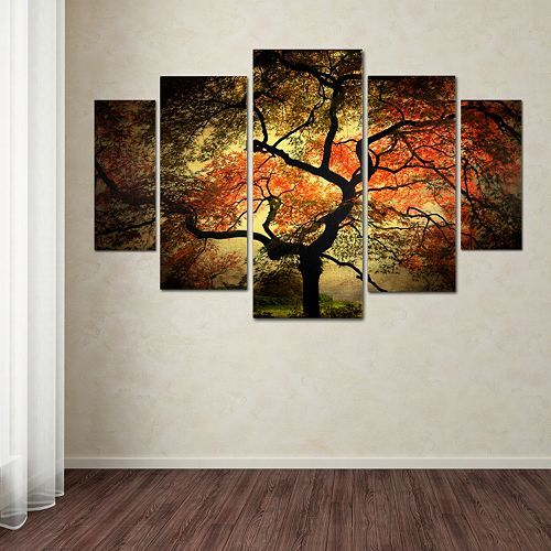Japanese tree 5 piece canvas wall art set