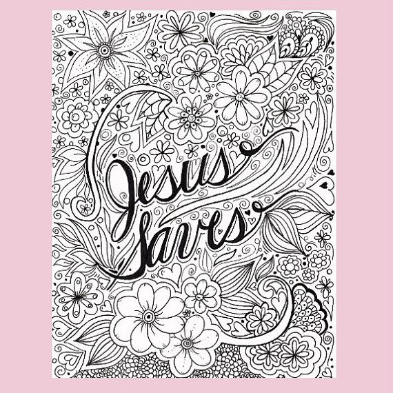 Jesus Saves Coloring Page Christian Coloring By Fourthavepenandink