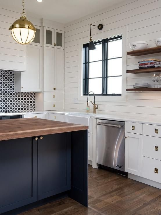 Shelves White Walls And Entry Ways: Stacked Floating Walnut Shelves Mounted On A White Shiplap Wall In A Cottage Kitchen. In 2019