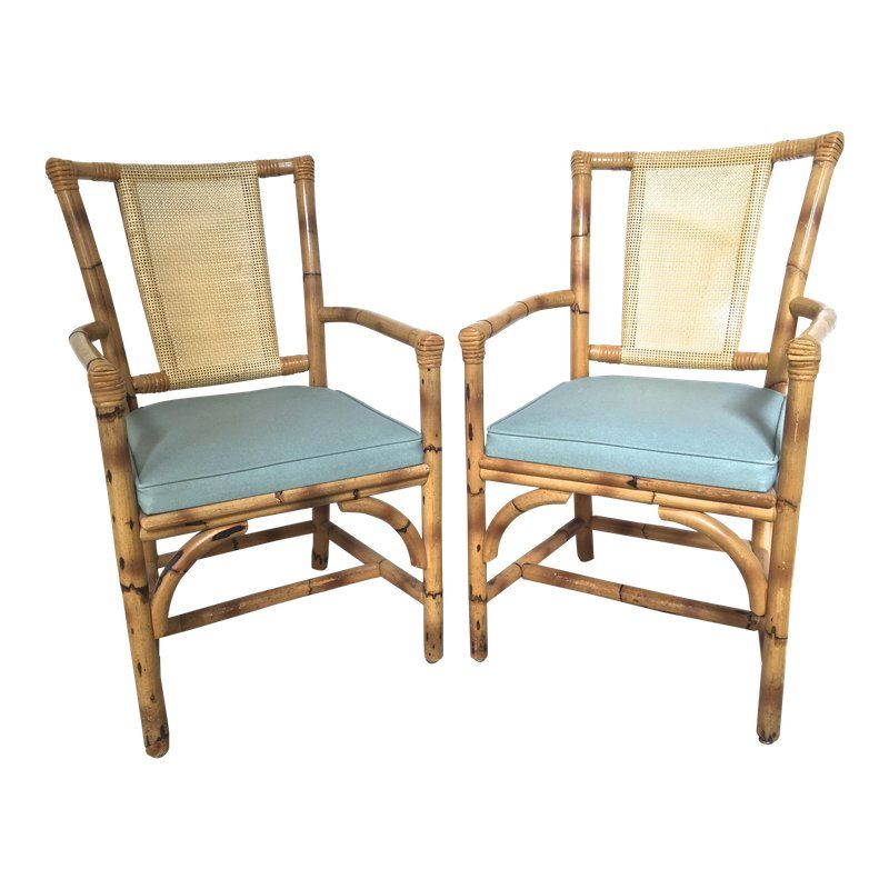 1950s Mid Century Modern Bamboo And Rattan Arm Chairs A Pair
