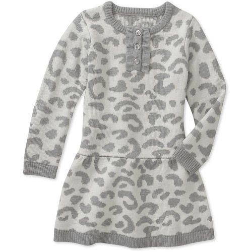 Wondrous Healthtex Baby Girls Grey Leopard Sweater Dress Baby Clothing Short Hairstyles For Black Women Fulllsitofus