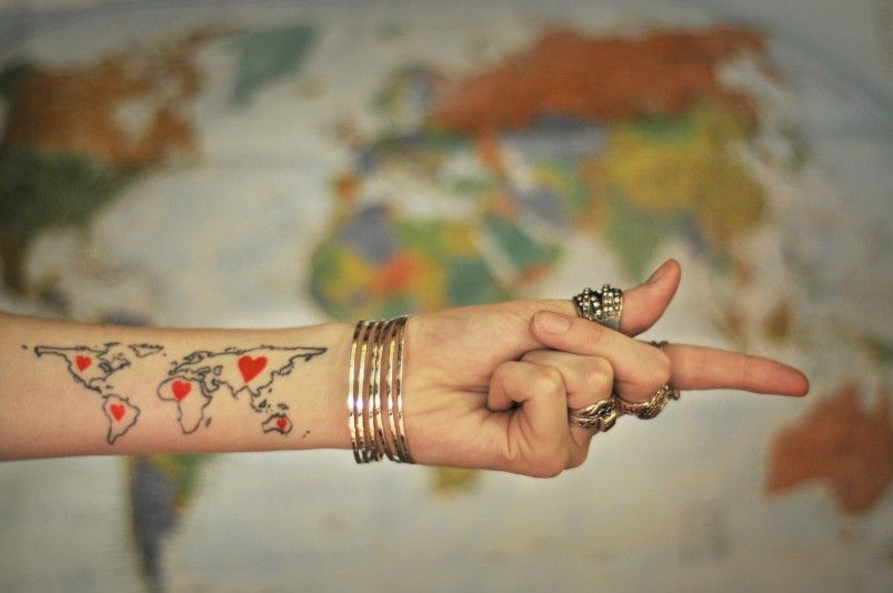 Getting tattooed while traveling tattoo tatting and map tattoos add a heart to each continent when i visit it gumiabroncs Choice Image