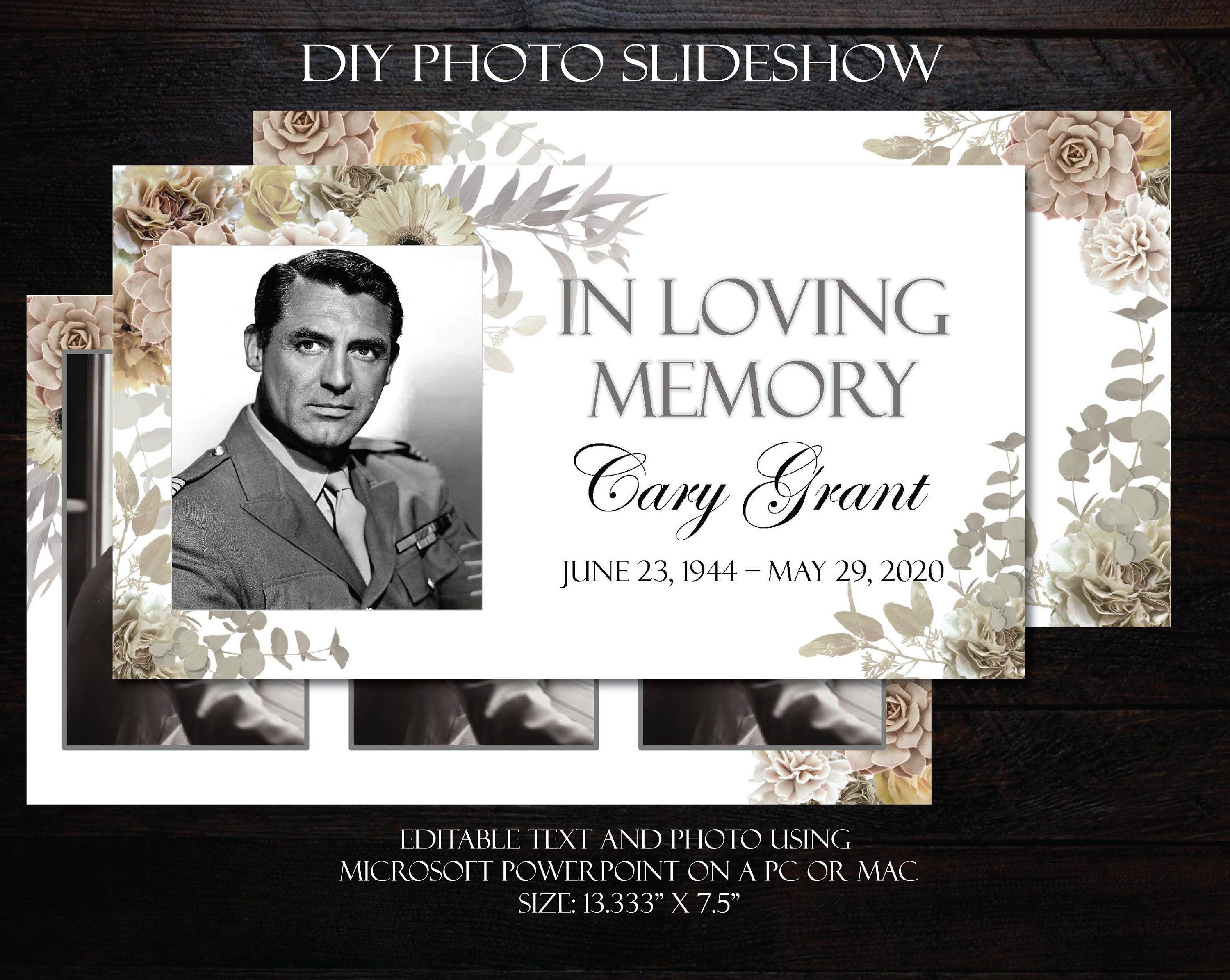 Celebration Of Life Powerpoint Template Funeral Slideshow Etsy Celebration Of Life Funeral Templates Funeral Program Template