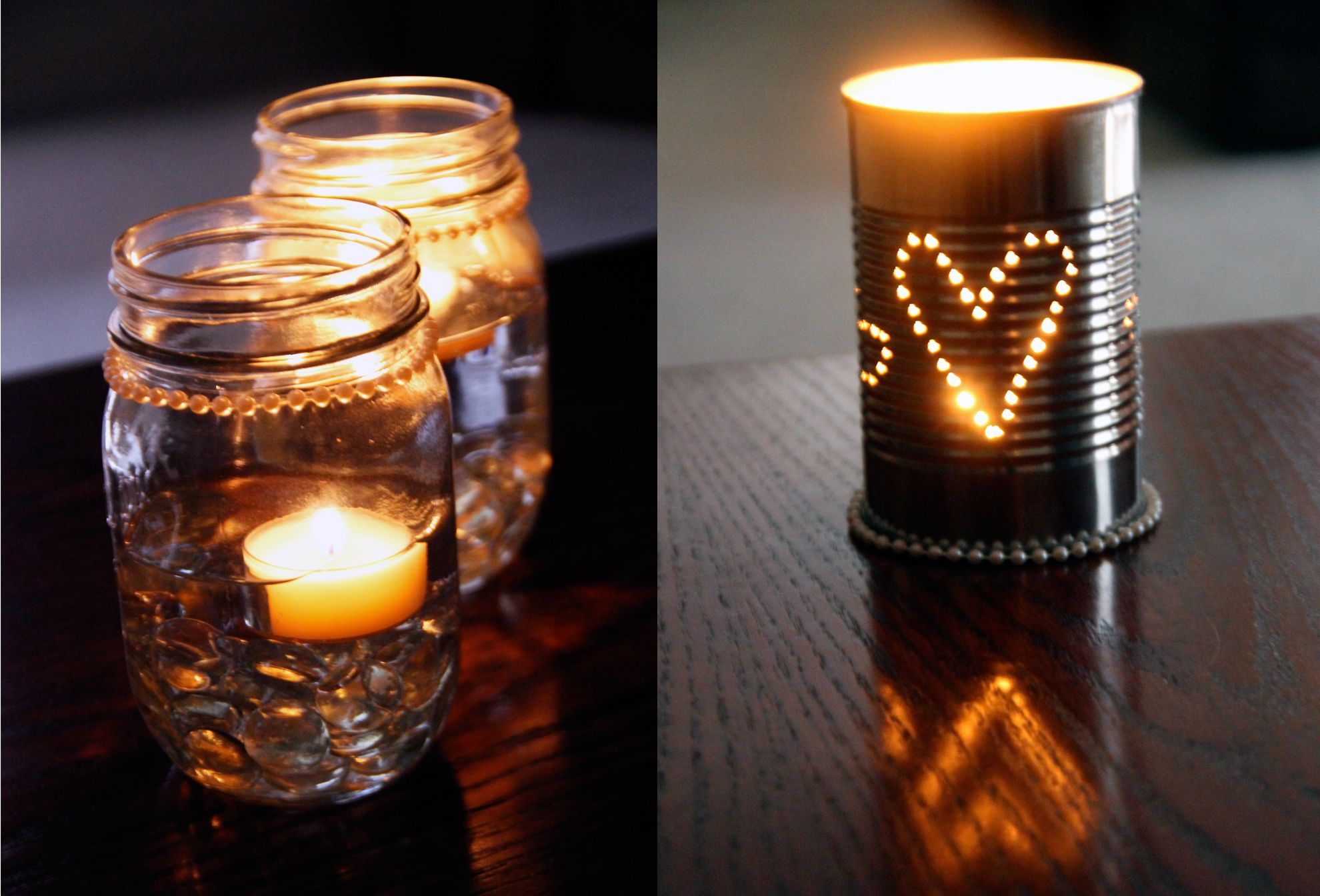 Mason jar wedding decoration ideas  Mason Jar Candles and Tin Can Lanterns wedding center piece