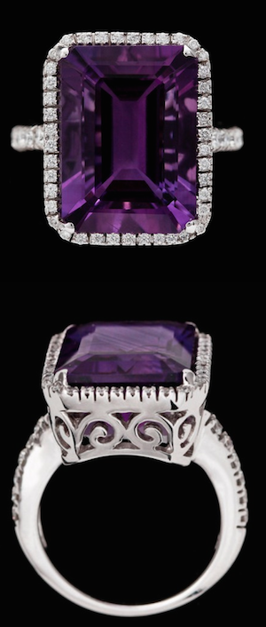 Amethyst and brilliant cut diamonds. 18k white gold.
