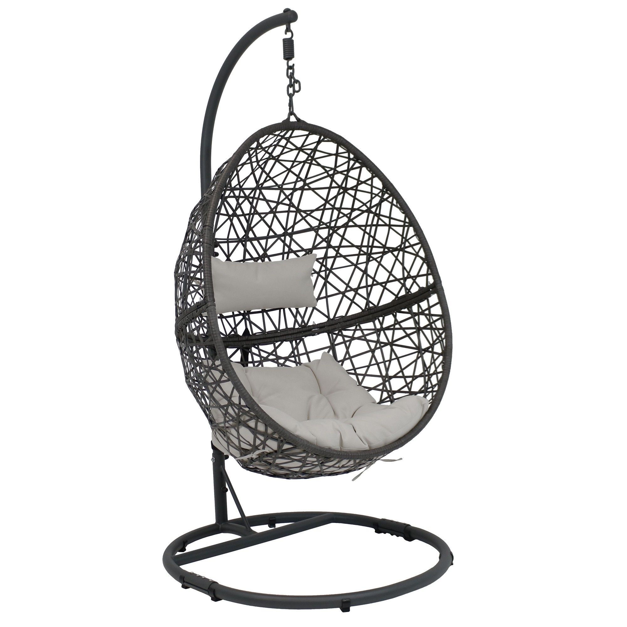 Caroline Resin Wicker Hanging Egg Chair with Steel Stand