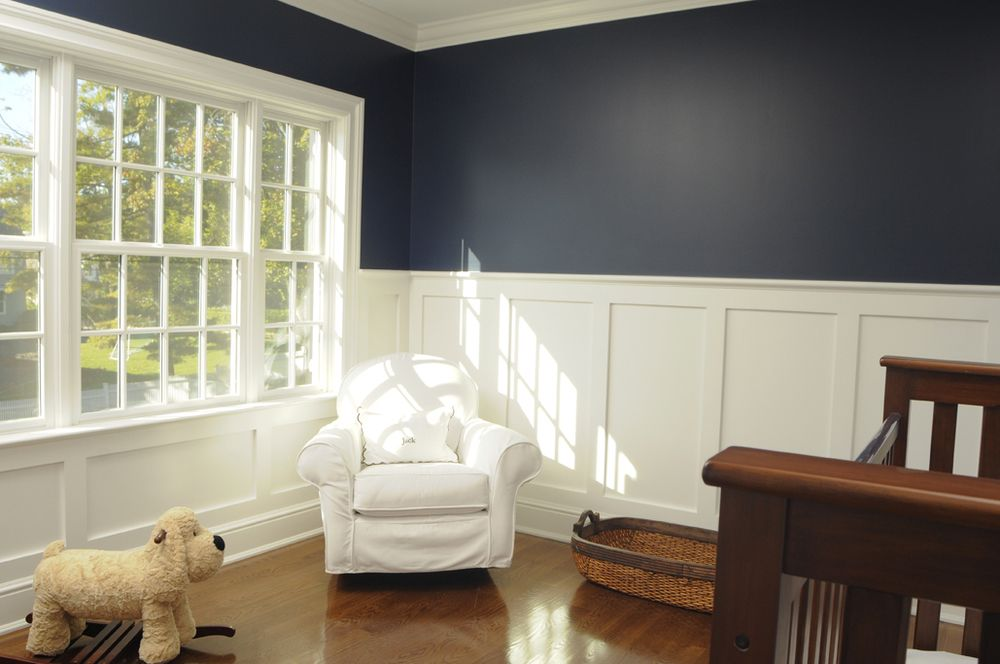 Panelling Navy Wall Above Wainscoting Bedroom Dining