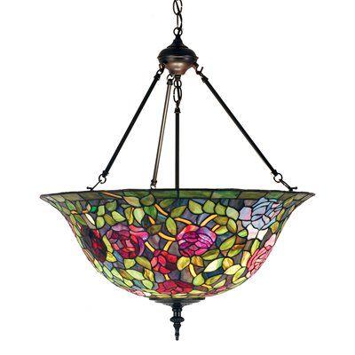 Meyda Tiffany 77786 3 Light Rose Bush Classic Bowl Large Pendant Mahogany Bronze Pendant Light Fixtures Classic Bowls Stained Glass Light