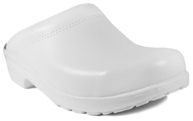 Clogs mit Flex-Sohle in Weiß, offen Obermaterial - Leder Fußbett - Ledereinlegsohle, mit weicher Texon- Polsterung Laufsohle - Polyurethane - PU-Sohle, flexibel, - Öl-, Säure- und Chemikalienbeständig Größen - 40 | 41 | 42 | 43 | 44 | 45 | 46 | 47