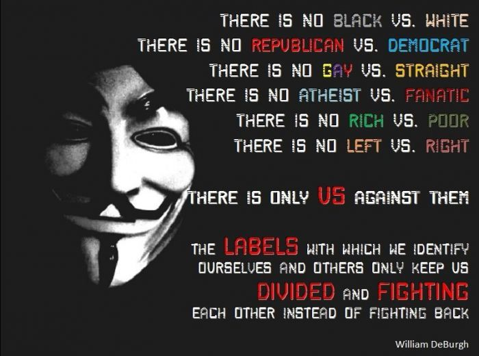 the labels which we identify ourselves and others only keeps  the labels which we identify ourselves and others only keeps us divided and fighting each