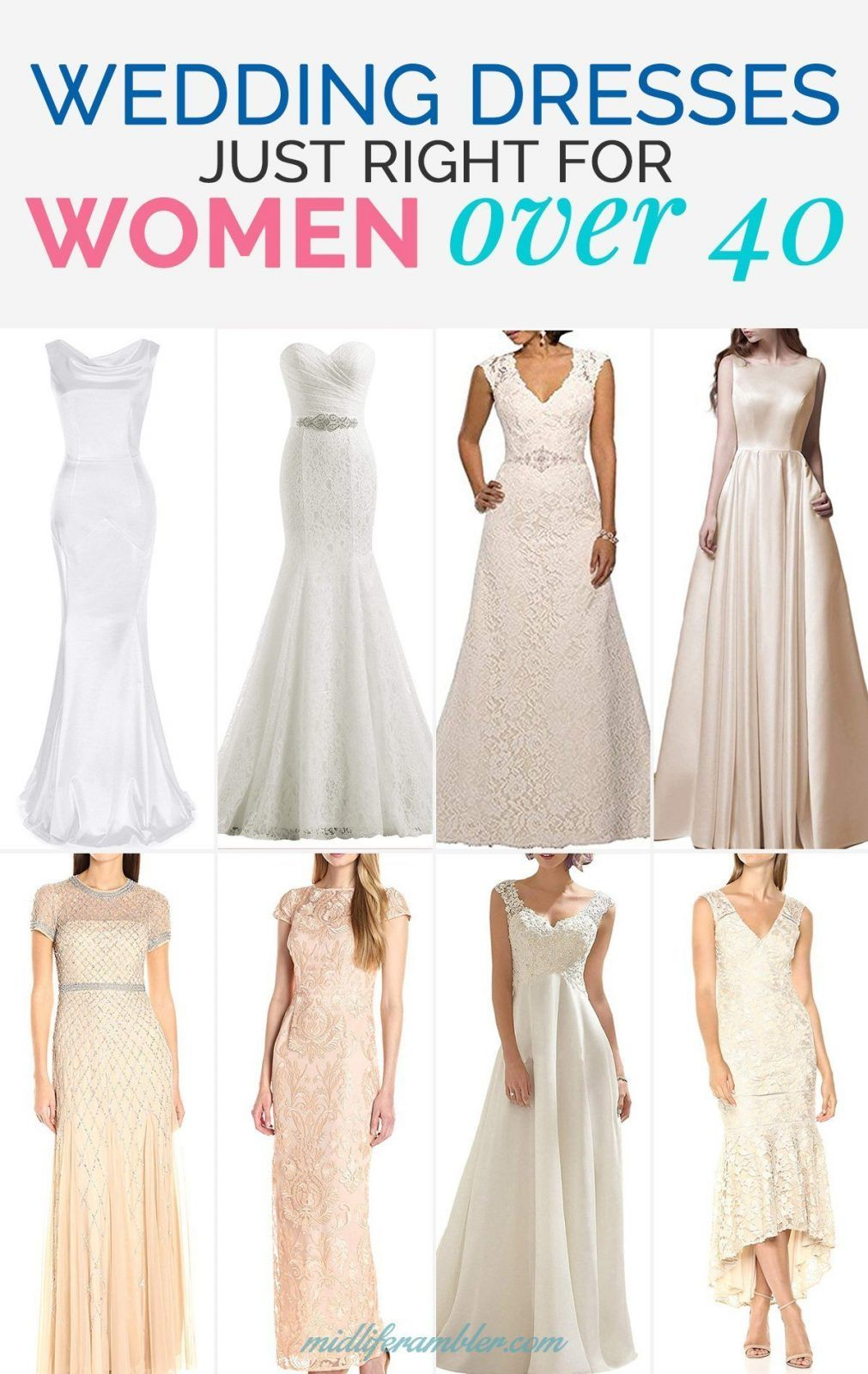 20 Wedding Dresses Perfect For The Over 40 Bride That You Can Get From Amazon In 2020 Older Bride Wedding Dress Over 40 Over 50 Wedding Dress