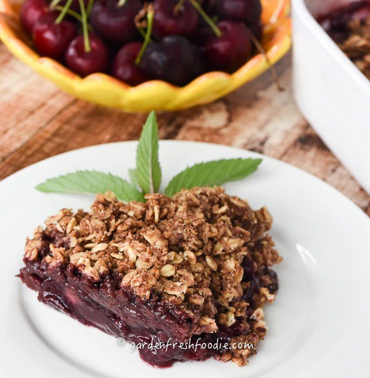 Slice of Cherry Cobbler With Oat Topping-made oil & gluten free, plant-based www.gardenfreshfoodie.com