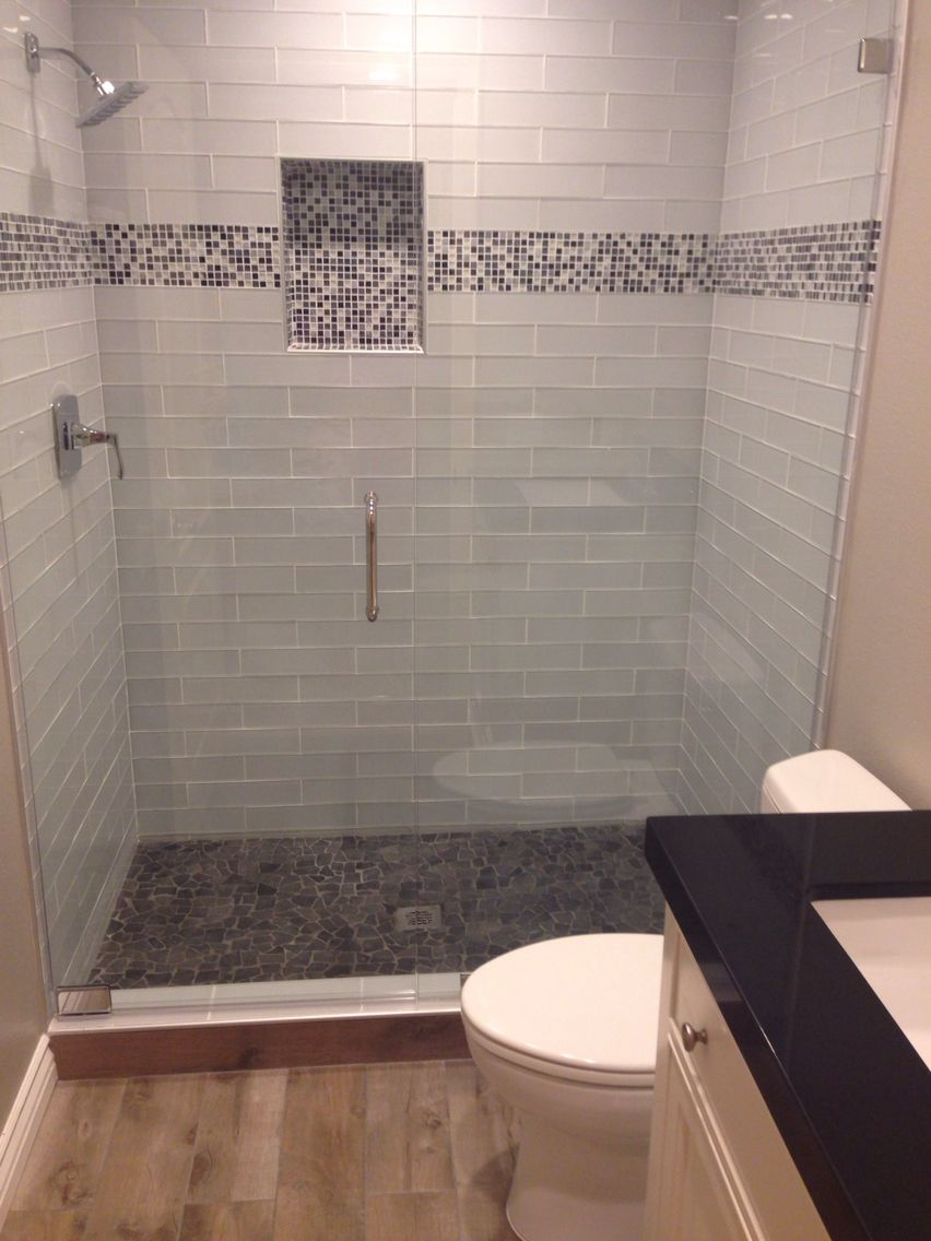 Glass Tiles Mosaic Accent Pebble Floor Wood Look Tiles And Black Quartz A Few Of My Favor Bathrooms Remodel Small Bathroom Makeover Small Bathroom Remodel