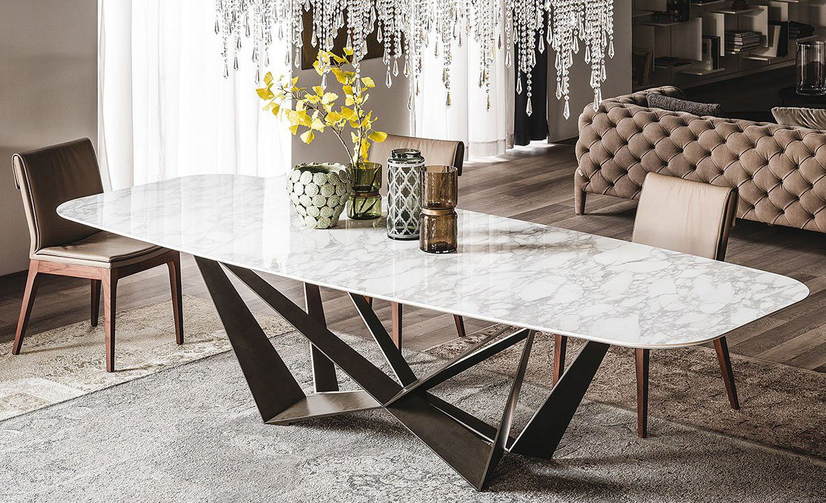 Skorpio Keramik By Cattelan Italia Table With A Metal Base In The Finishe Marble Top Dining Table Dining Room Table Marble Contemporary Dining Room Furniture
