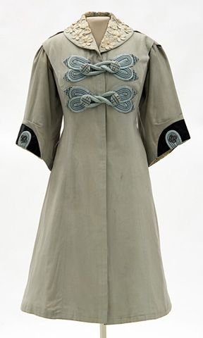 Woman s blue flannel coat trimmed with black silk and heavy black braid.  Made by dressmaker Madame Rose H. Boyd 1bb4d1df9