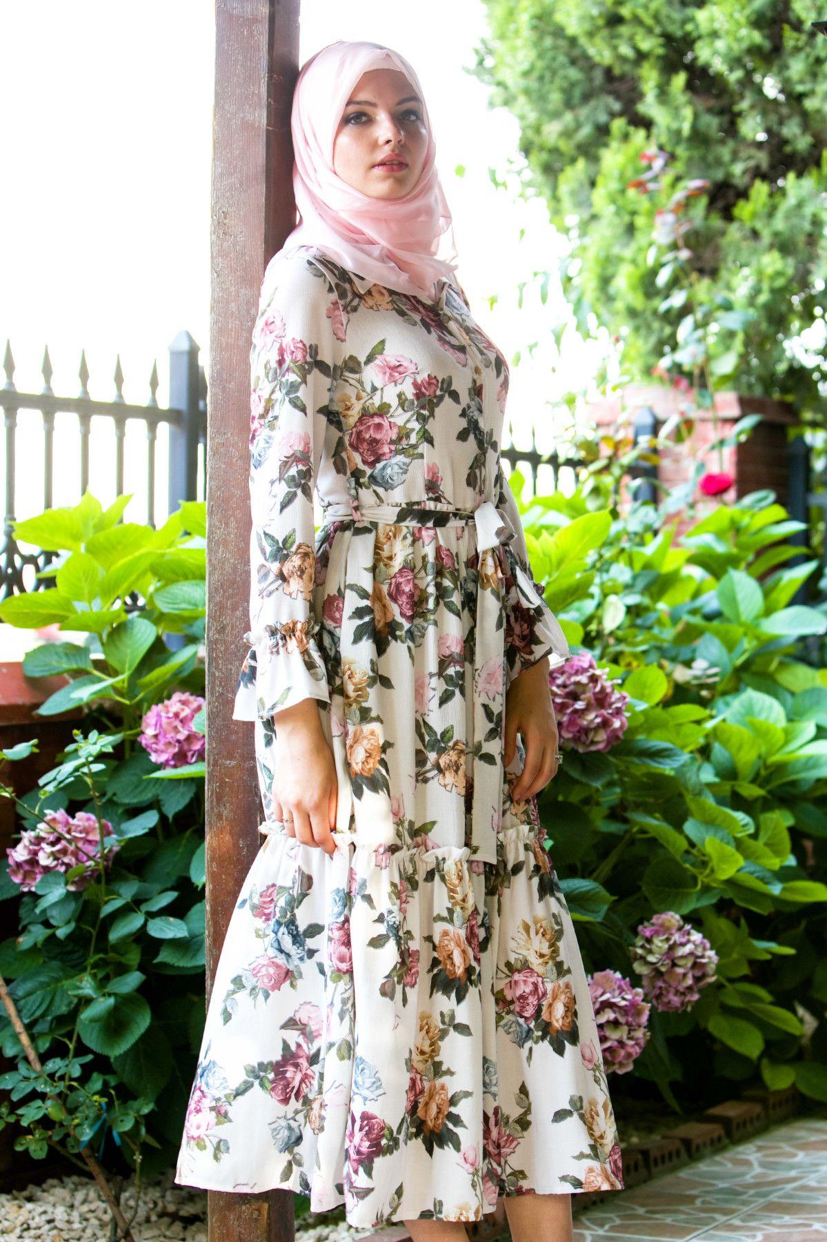 Yazlik Cicekli Tesettur Elbise Modelleri Elbise Modelleri Elbise Cicekli Elbise