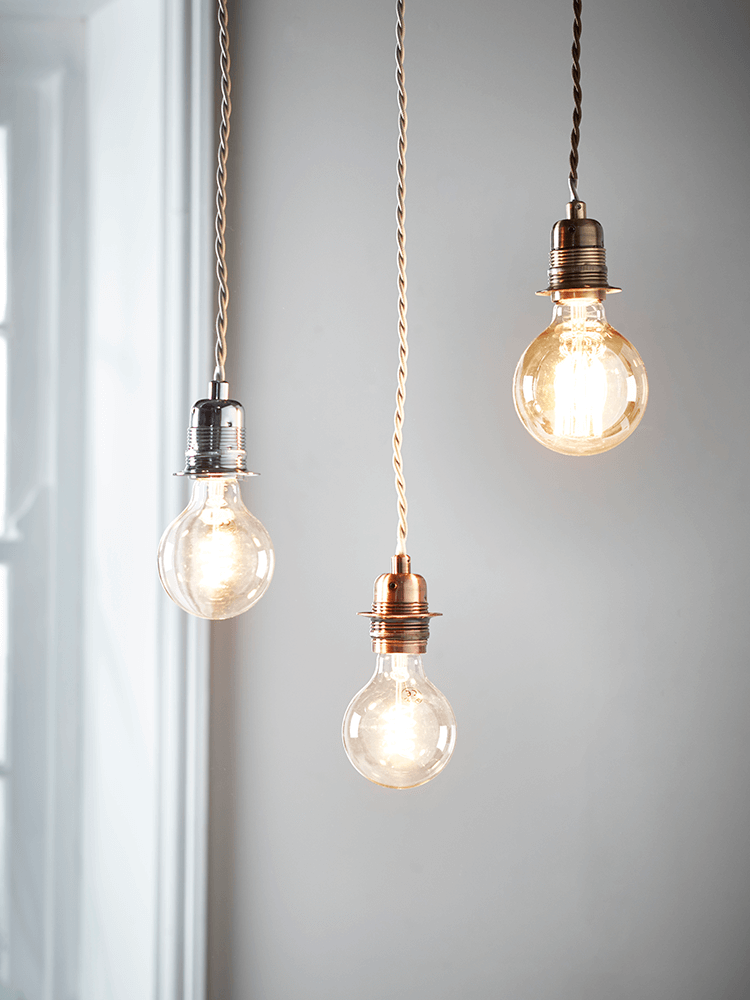 With an antiqued metallic finish and twisted fabric flex these with an antiqued metallic finish and twisted fabric flex these simple light fittings are the aloadofball Gallery