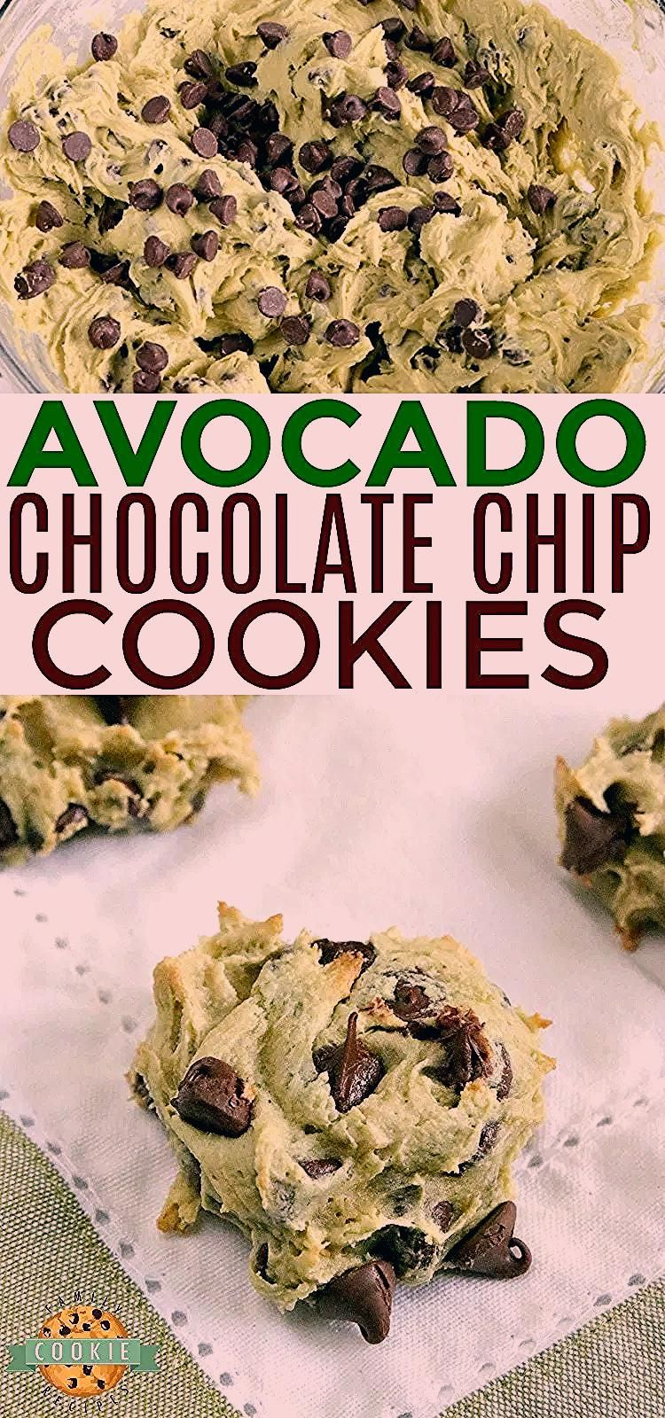 Avocado Chocolate Chip Cookies are soft, chewy and delicious! These chocolate chip cookies are made