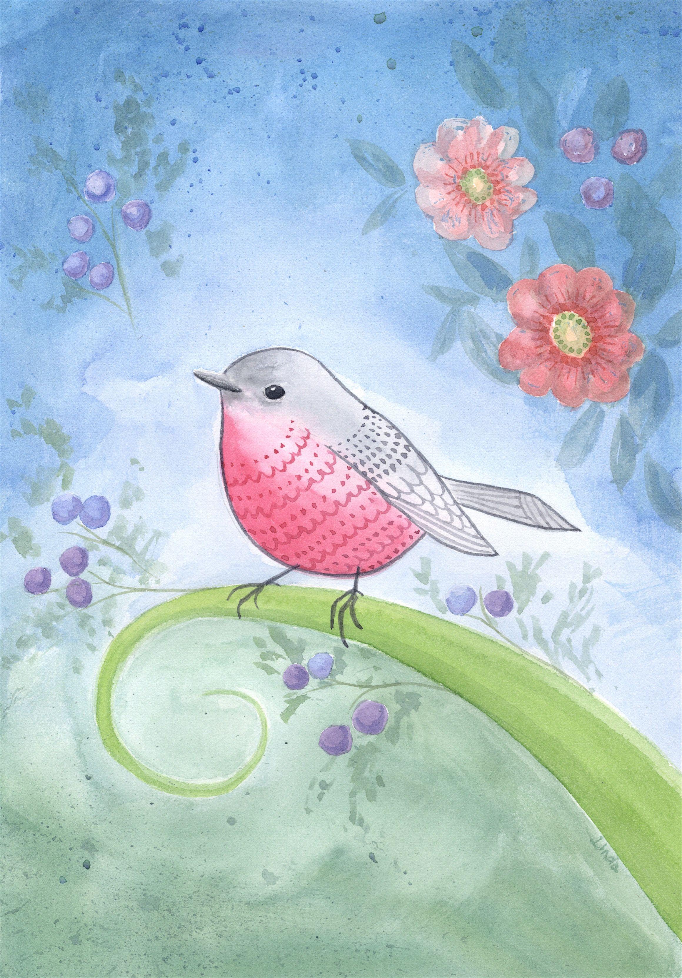 Sweet little whimsical pink robin.