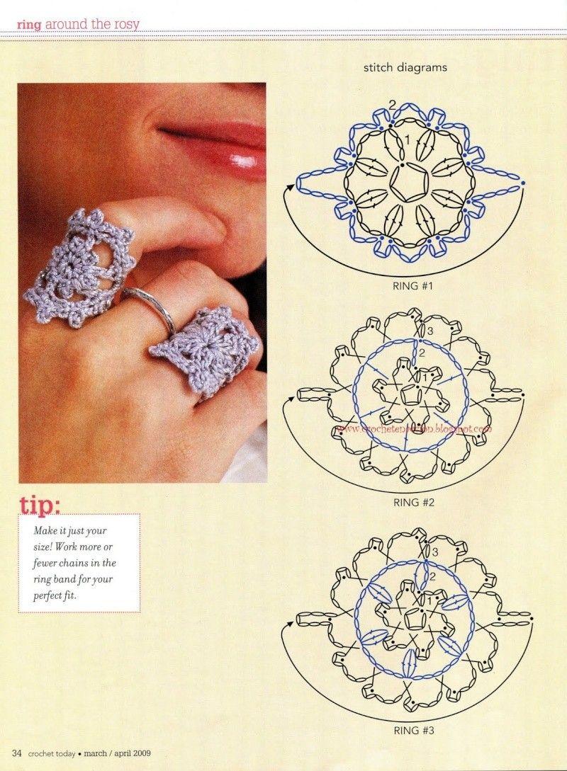 Moldes anillos de crochet | crochet | Pinterest | Croché, Ganchillo ...