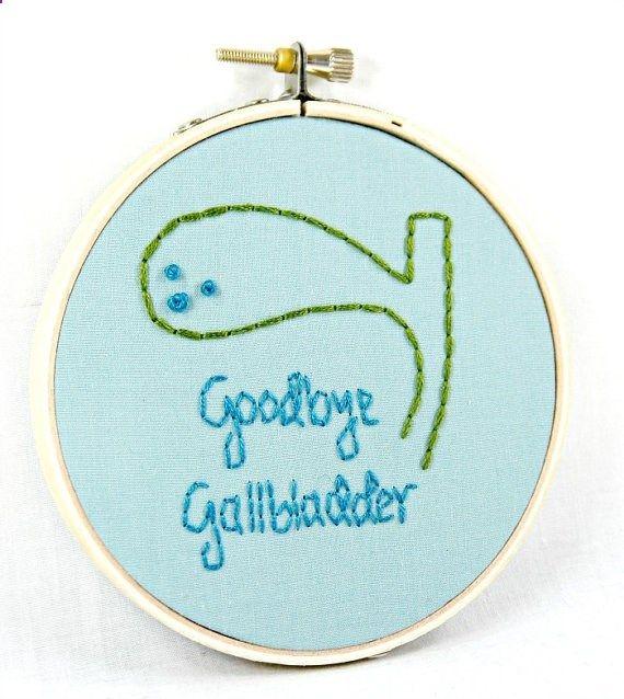 Get Well Soon Gift-Goodbye Gallbladder Hoop Art by HeyPaulStudios, $32.00