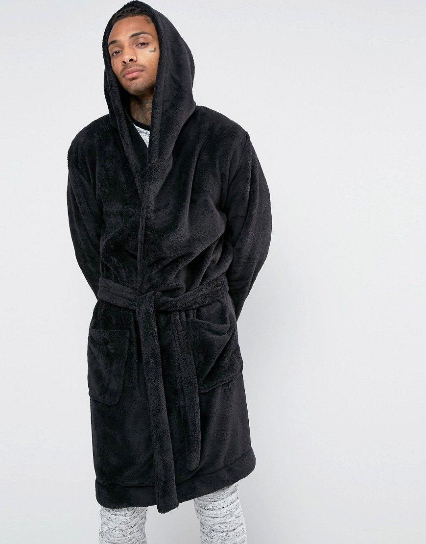 218c6c0e90 ASOS Hooded Fleece Robe - Black