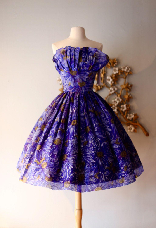 Vintage 1950s Silk Floral Print Party Dress ~ Vintage 50s Blue ...