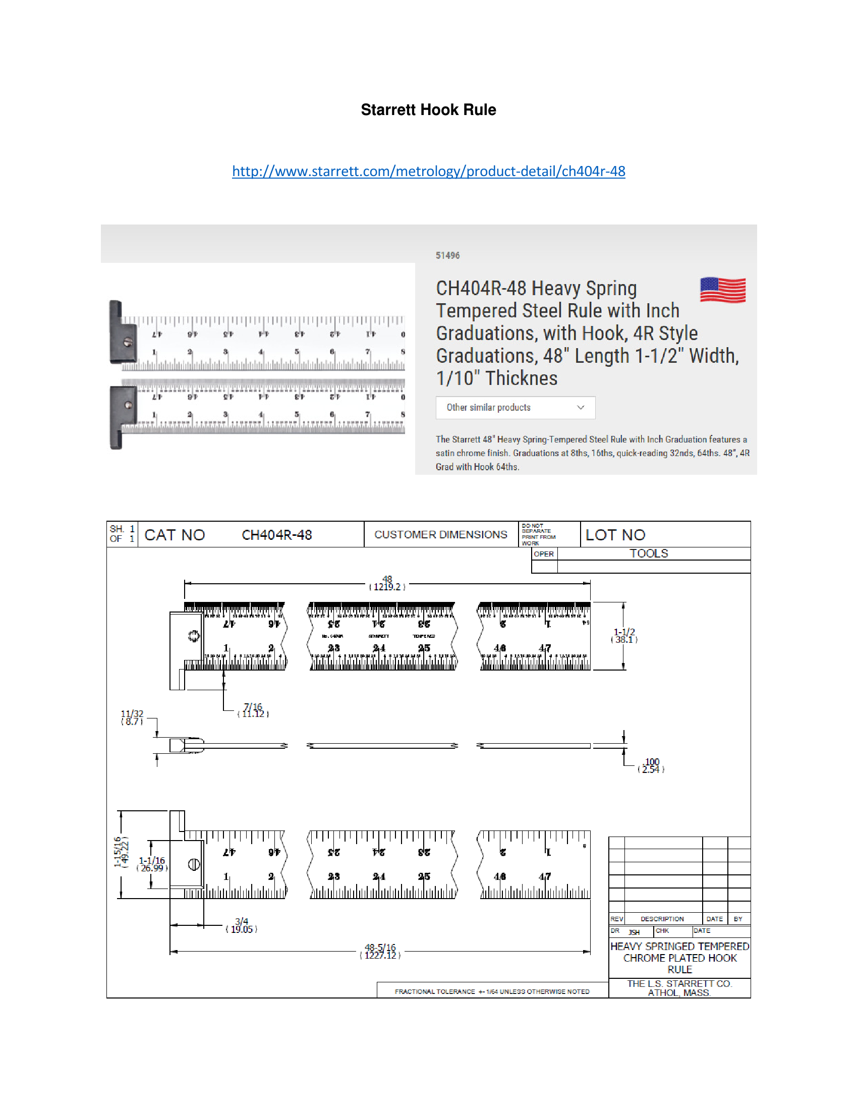 Ch404r 48 Heavy Spring Tempered Steel Rule With Inch Graduations Tempered Steel Quick Reads Temper [ 2200 x 1699 Pixel ]