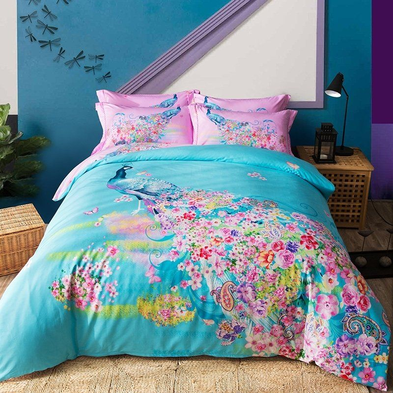 Hot Pink Turquoise Bedding Bedspread Bedroom Sets Peacock Bedding King Size Duvet Covers Turquoise Bedspread