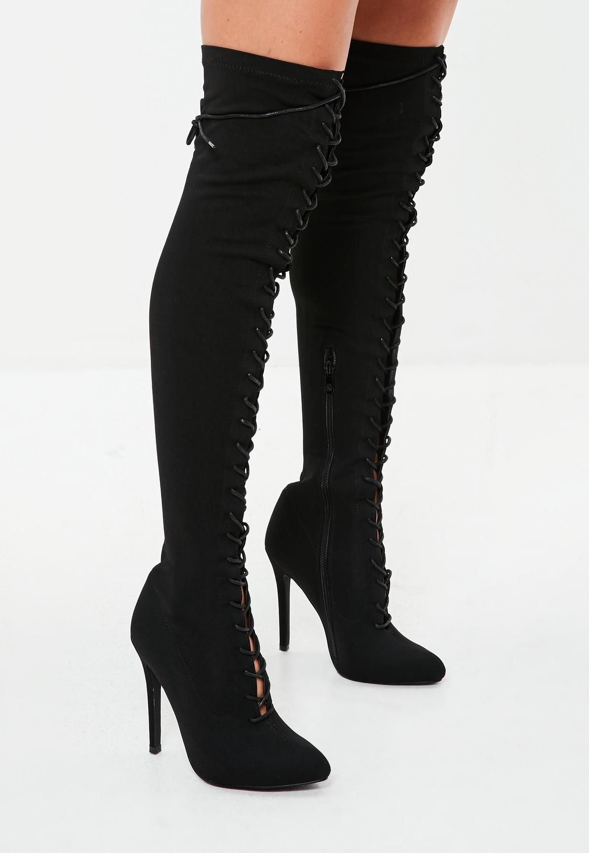 600a186ec480 Missguided - Black Lace Up Over The Knee Boots | shoes goals in 2019 ...