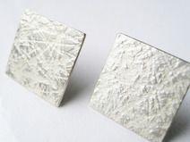 große quadratische Silber Ohrstecker mattiert