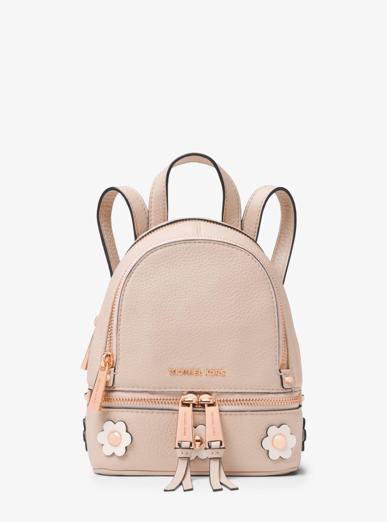 ee2b29274bdc Buy Michael Kors Sftpnk/Ltcrm Rhea Mini Floral Appliqué Leather Backpack  Cheap Sale