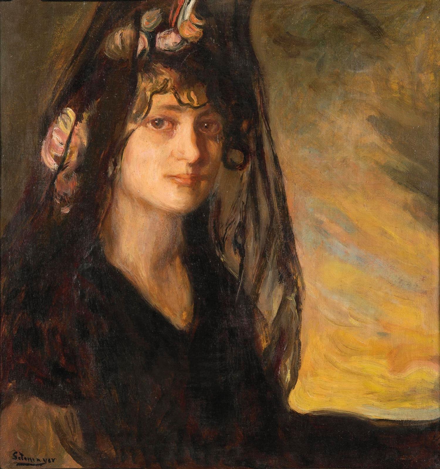 Fernando Alvarez de Sotomayor - Zaragoza(España, 1875 - 1960). Retrato de dama con mantilla