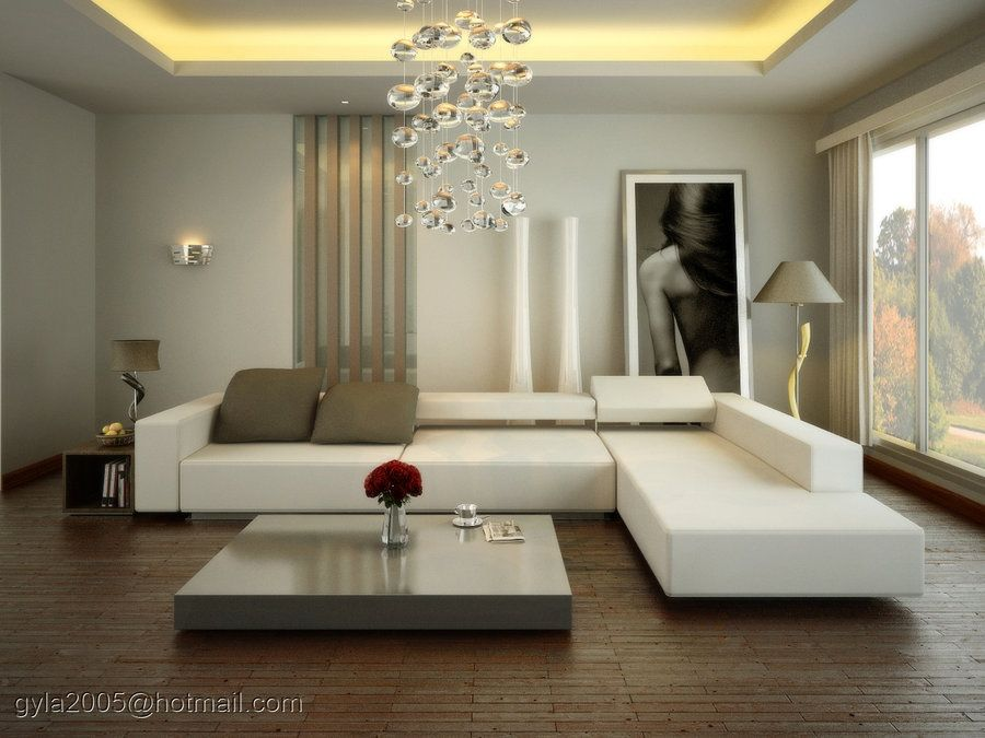 Contemporary white living room at spacious modern living for Elegant contemporary living rooms