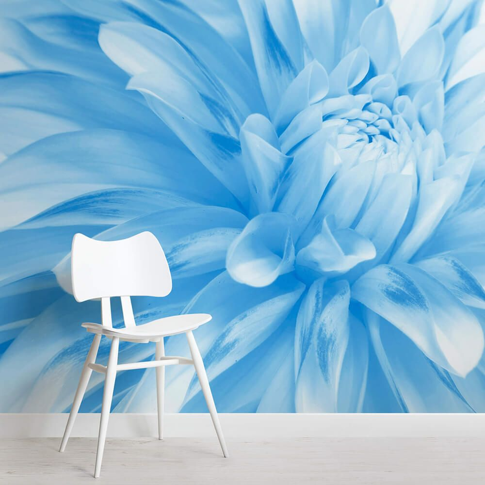 Pale Blue Flower Mural Wallpaper Blue Flower Wallpaper Flower