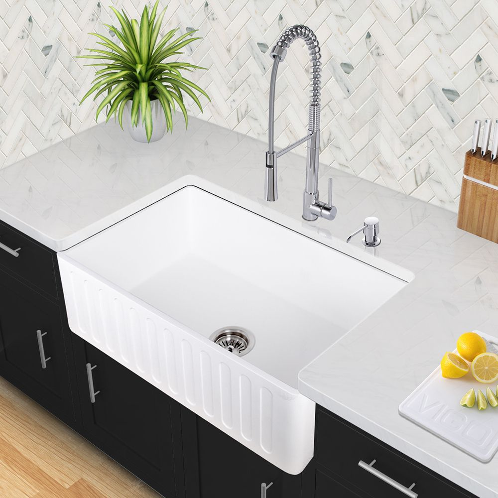 Vigo White 36 Inch Matte Stone Farmhouse Kitchen Sink Farmhouse