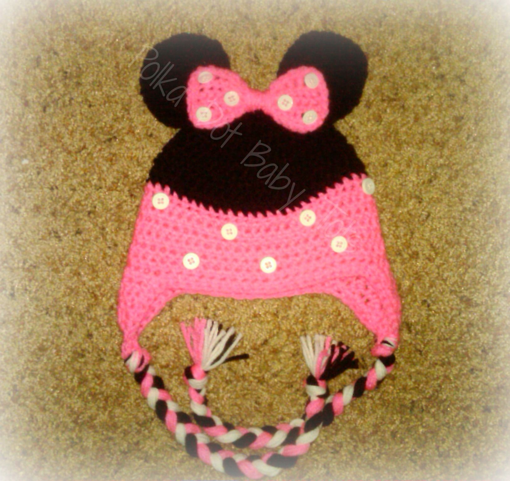 Full of Buttons Minnie inspired hat www.facebook.com/polkadotbabytots