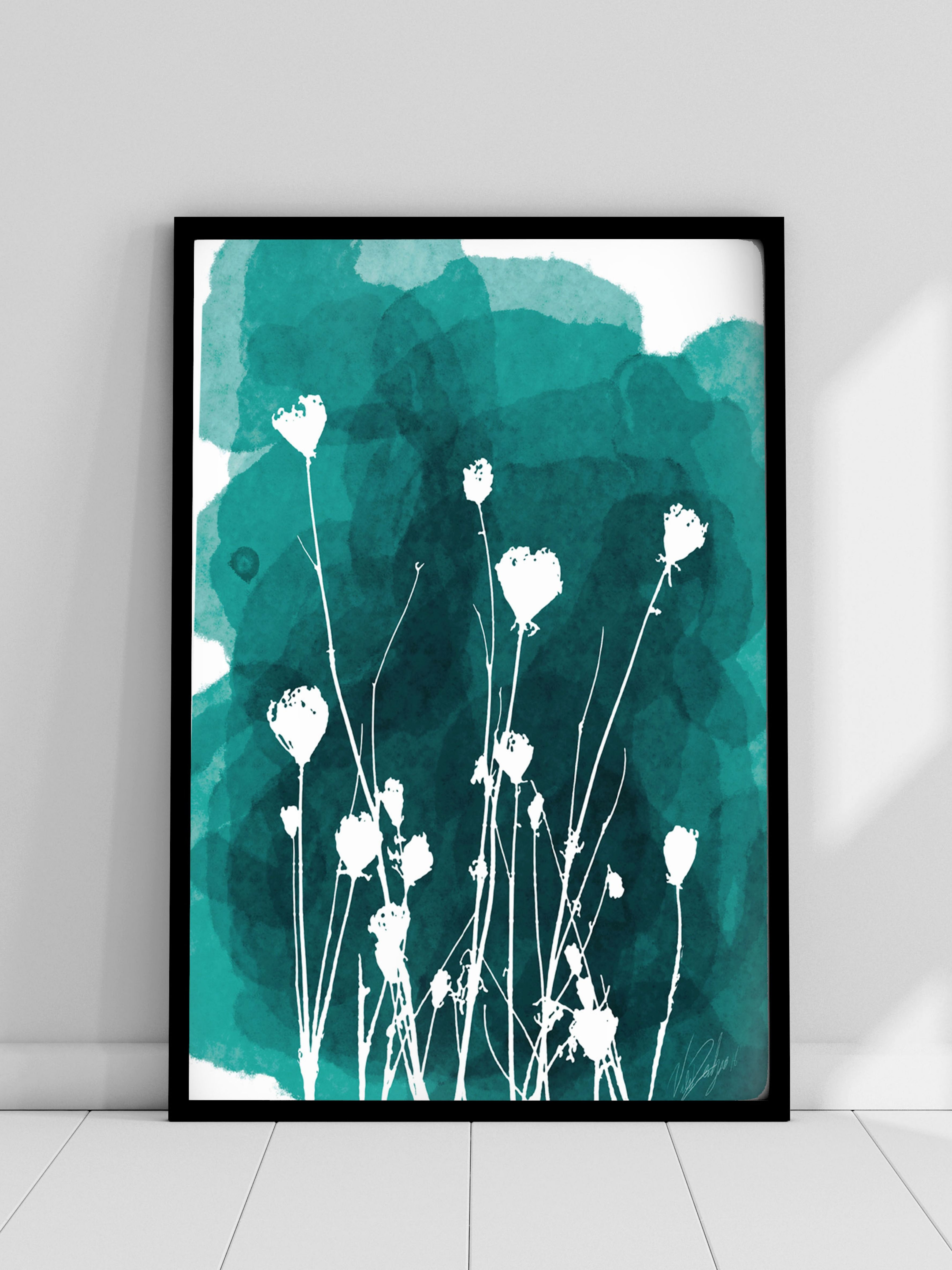 Floral Botanical Watercolor Painting Teal Flower Wall Art Etsy Teal Wall Art Flower Wall Art Etsy Wall Art