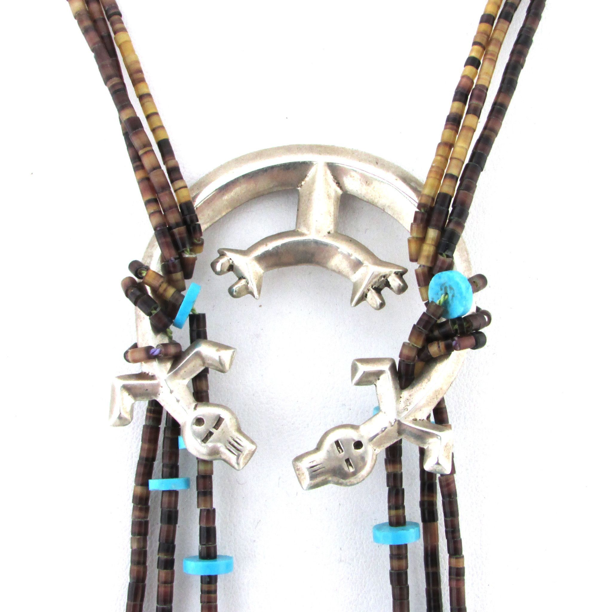 Custom Shell & Turquoise Necklace w/ Sterling Silver Rainbow Man Naja