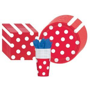 Red Polka Dot Party Supplies Pack Including Plates, Cups, and Napkins- 18 Guests