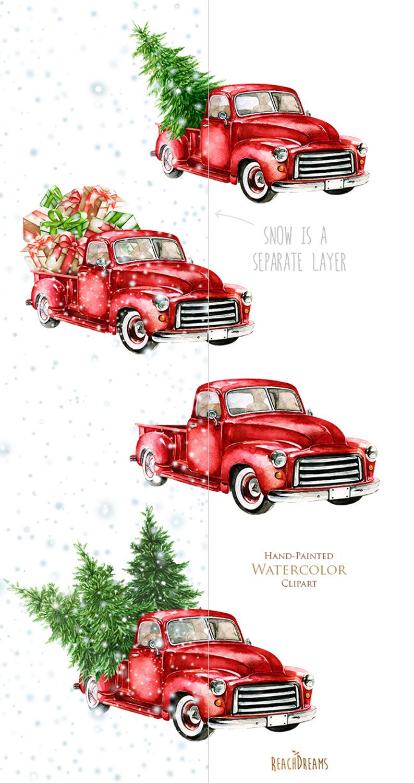 Watercolor Christmas Truck Vintage Red Pickup Pine Tree Etsy Christmas Watercolor Christmas Red Truck Christmas Paintings
