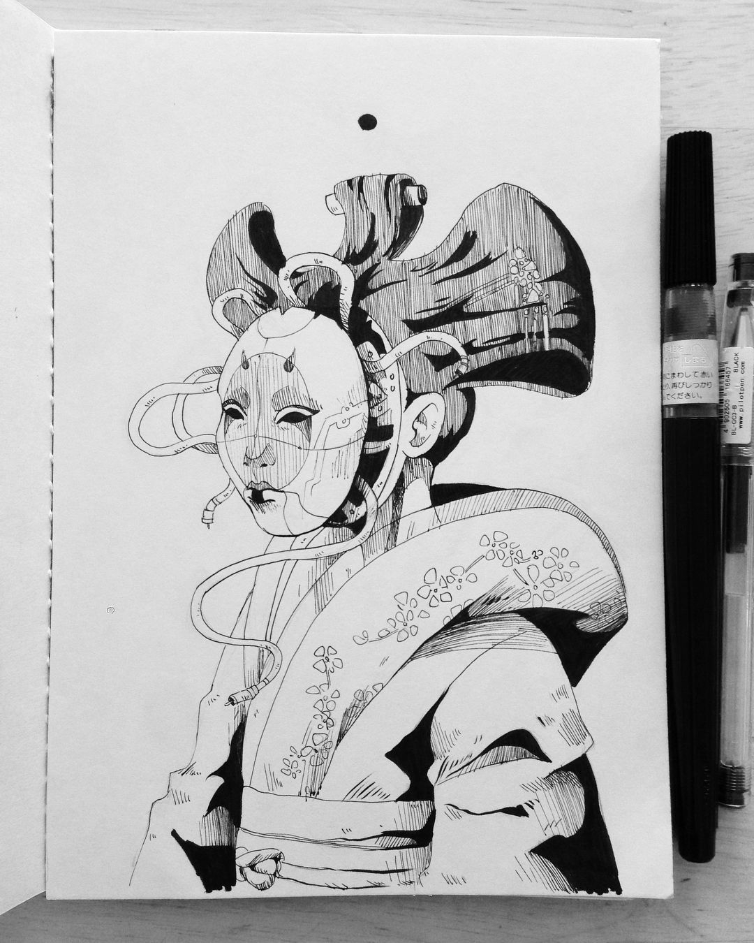 Sketch Pad Anime Ghost I Am Amazing Geisha In The Shell