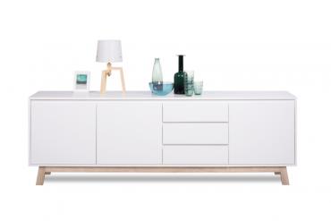 Modernes Design Sideboard Stockholm 200cm Weiss Wendbare Front